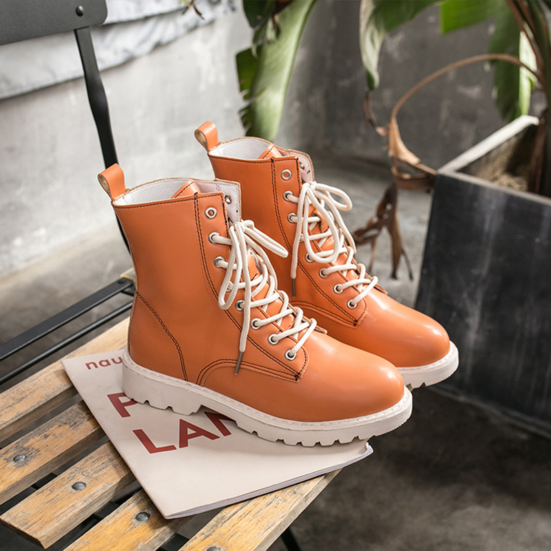Colorful Martin Boots Fashion Womens Boots Ankle White Boots Platform Ankle Boots 2019 New Autumn Women Boots Lace Up Black Boot in Ankle Boots from Shoes
