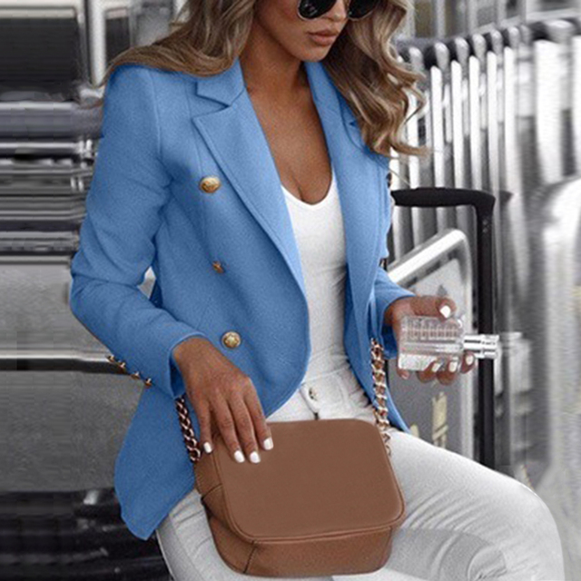 Women Long Sleeve Formal Blazer Jackets Cardigan Office Work Lady Notched Slim Fit Suit Business Autumn New Outerwear Tops 1