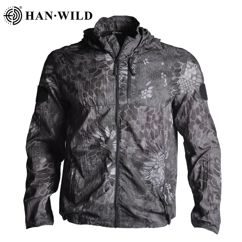 HAN WILD Sun Protective Jackets Army Tactical Jacket Camouflage Anti-UV Military Thin Men Waterproof Windproof Jacket Hooded