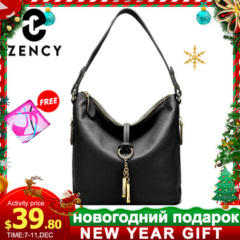Zency New Fashion Women Shoulder Bag Metal Tassel 100% Genuine Leather Lady Crossbody Messenger Elegant Gift Handbag Black White - discount item  50% OFF Women's Handbags