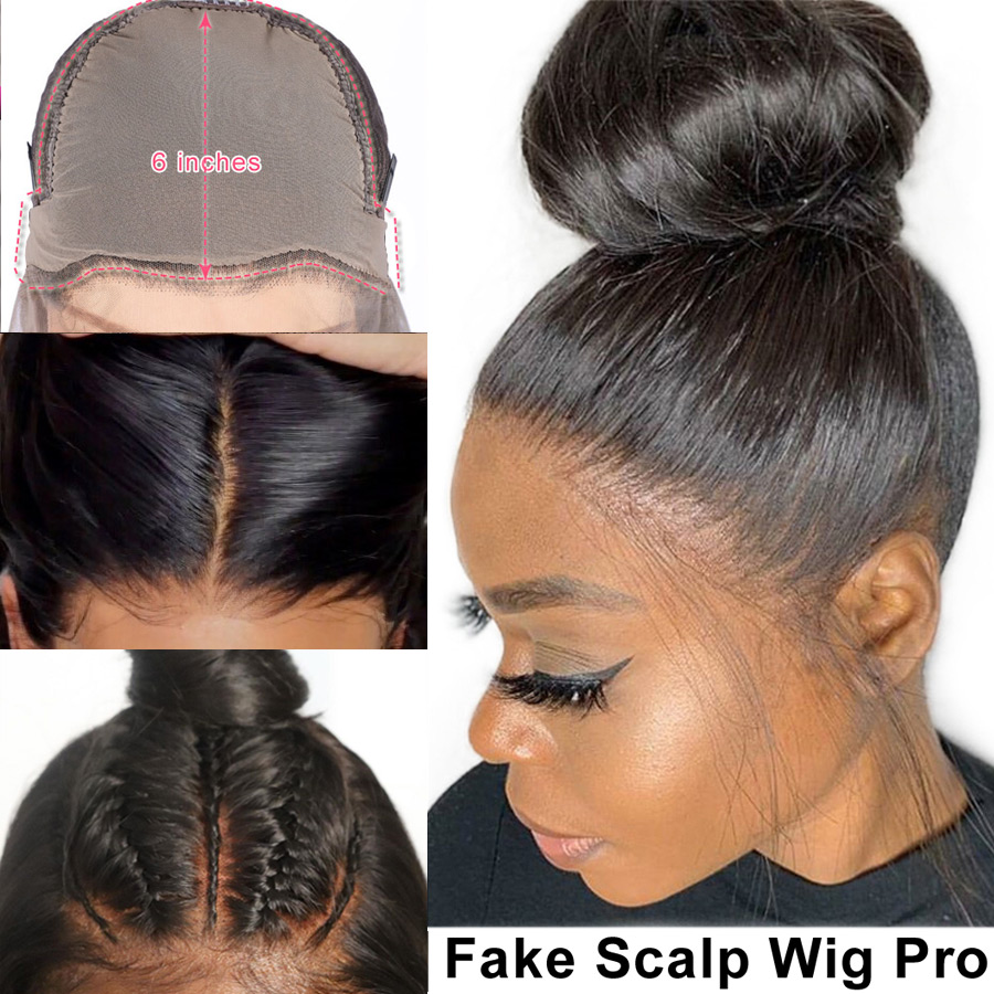 Eva Fake Scalp Wig 13x6 Lace Front Human Hair Wigs Straight 370 Lace Frontal Wigs Pre Plucked With Baby Hair Brazilian Remy Hair