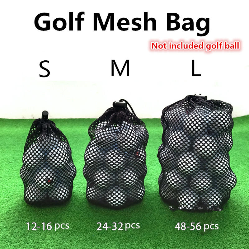 Sports Mesh Net Bag Black Nylon Golf Bags Golf Tennis 16/32/56 Ball Carrying Drawstring Pouch Storage Bag Golf Accessories