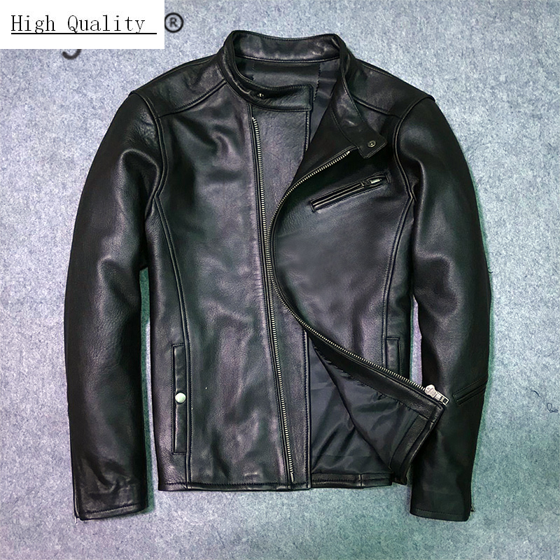 2020 New Fashion Genuine Leather Jacket Men Winter Jacket Male Moto Biker Real Cow Leather Coat Streetwear Clothes LW1465