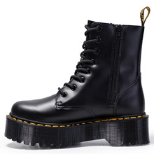 Women's Platform Flat Boots Chunky Motorcycle Boots