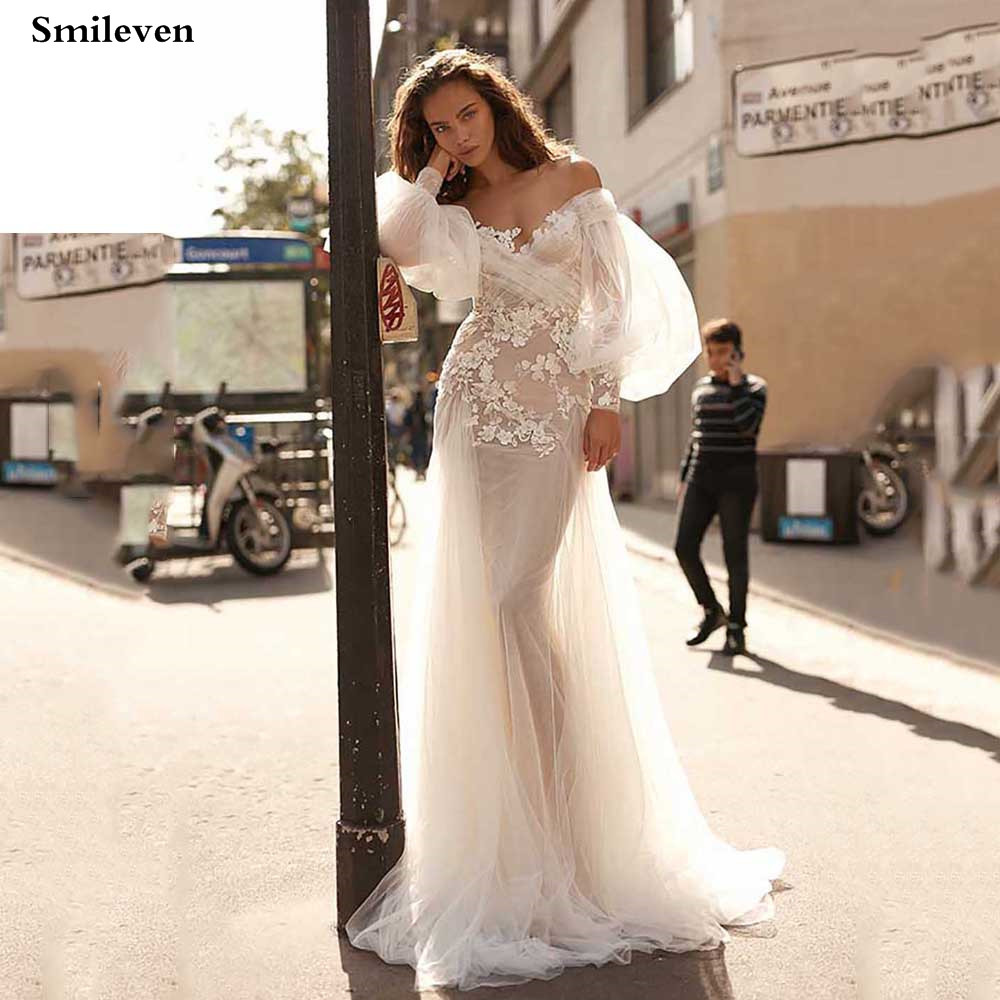 Smileve Boho Mermaid Wedding Dress Puff Sleeve Elegant Lace Bride Dresses Off The Shoulder Wedding Gowns Robe De Mariee
