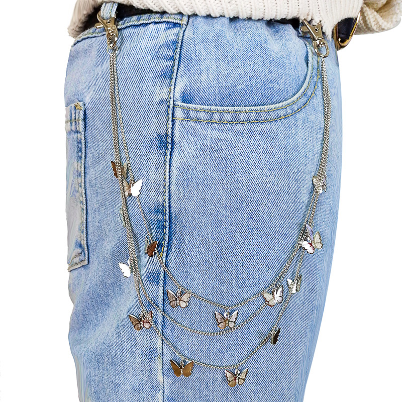 Женская многослойная цепочка для брюк, длинная цепочка для джинсов золотого и серебряного цвета в стиле панк, Ювелирное Украшение 2021