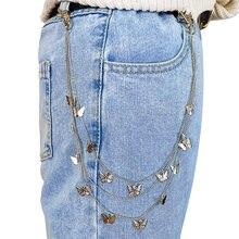 Punk na moda ouro prata cor multicamadas calças de cintura corrente para mulher longa borla borboleta dangle jeans corrente 2021 jóias