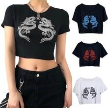 Dragon Print T-Shirt Women Short Sleeve Tumblr Casual New Streetwear Hip Hop tops Harajuku Fun Basic Ladies Summer tee