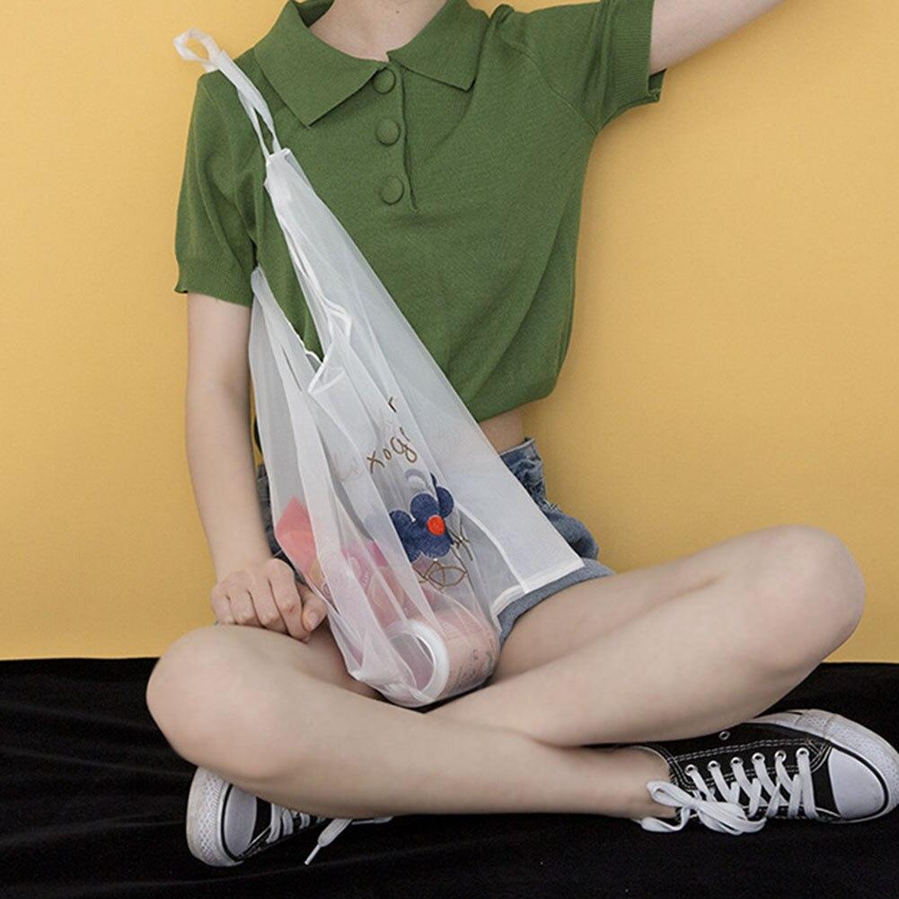 Women Handbag Portable Embroidery Casual Mesh Shopping Bag For Outdoor Travel H66