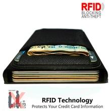 Tarjetero de aluminio para hombre, billetera delgada de Metal con bloqueo RFID, monedero, tarjetero