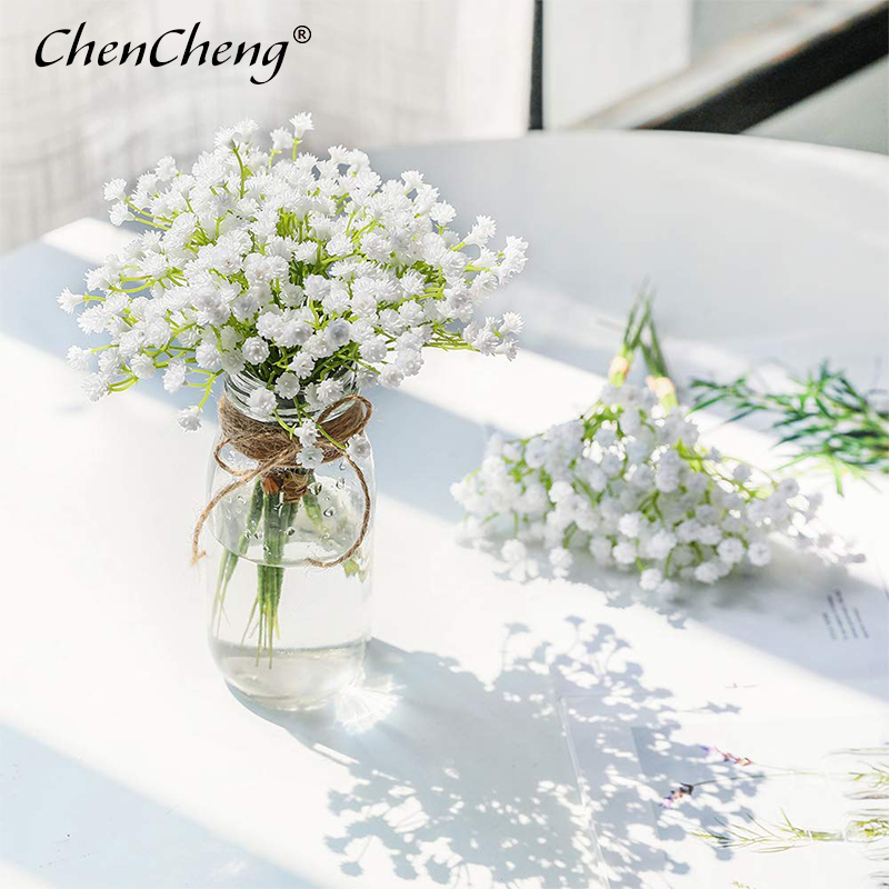 CHENCHENG 1 Piece White Babies Breath Artificial Flowers Fake Gypsophila DIY Floral Bouquets Arrangement Wedding Home Decor Fall