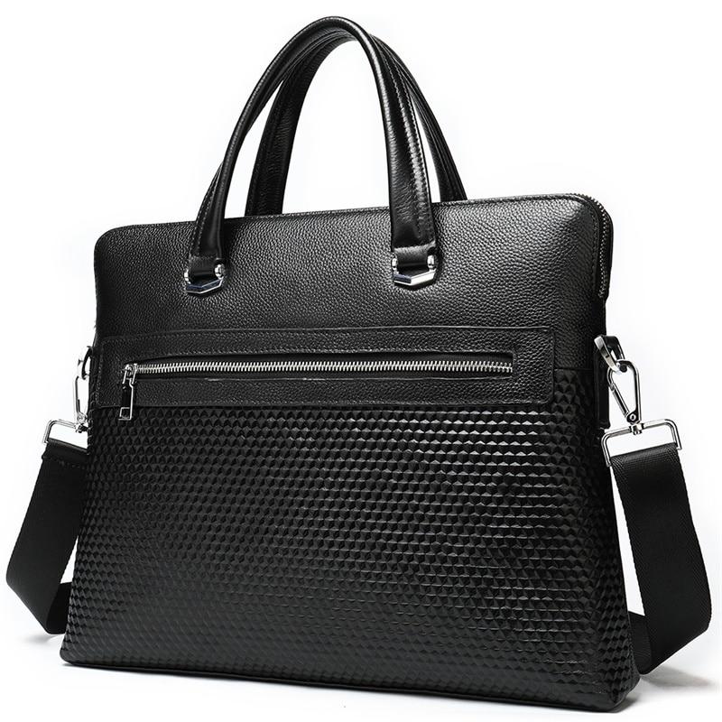 Genuine Leather Briefcase Men Laptop Leather Men Briefcase Bag For 14 Messenger Casual Man Business Bag Briefcases Shoulder 8968