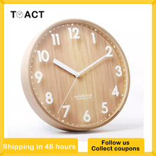 Wood Wall Clock Nordic Wall Clocks Modern Design Kitchen Living Room Home Decoration Wooden Hanging Watch Silent Round 10 Inch