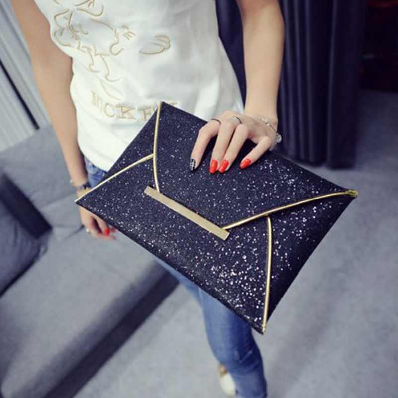 Kadın akşam el çantası çantası Sequins zarf siyah çanta parti çantası katı düğün günü kavramalar makyaj çantası 2019