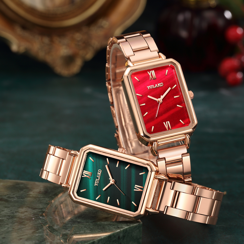 Reloj Mujer Women Rectangle Green Marble Dial Roma Watches YOLAKO Female Rose Gold Stainless Steel Quartz Wrist Watches 4