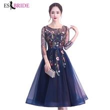 Формальное Новое модное вечернее платье, женское винтажное элегантное вечернее платье, сексуальное 3/4 рукав, плиссированное вельветовое длинное платье ES1215