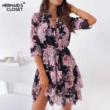Women Spring Cascading Ruffles Flower Print Dress Boho 2021 Summer Half Sleeve Office Shirt Dress Female A Line Party Vestidos