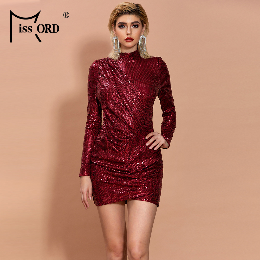 Missord 2020 Women Sexy O Neck Long Sleeve Sequin Dresses Female Elegant Mini Bodycon Dress  FT19887