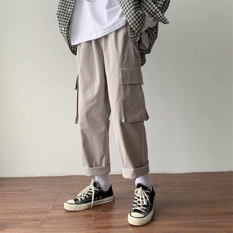 InsKorean Joggers Pants Streetwear Men Hip Hip Baggy Cargo Pants Ziipper Patchwork 2019 Casual Harem Pants HipHop Track Trousers