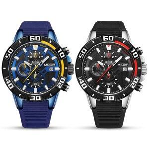 Image 4 - MEGIR Men Watches Top Brand Luxury Chronograph Sport Watch Silicone Quartz Military Watches Clock Relogio Masculino Reloj Hombre