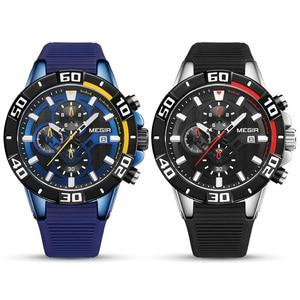Image 4 - MEGIR мужские часы, лучший бренд, роскошные хронограф, спортивные часы, силиконовые кварцевые военные часы, часы, Relogio Masculino Reloj Hombre