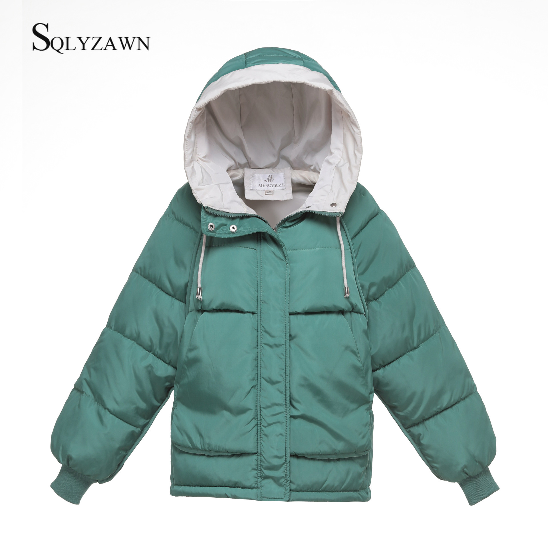 Autumn Winter Warm Zipper Thick Coats Women Jackets Fashion Hooded Casual Solid Cotton-padded Parka Female Outerwear Coats 3XL