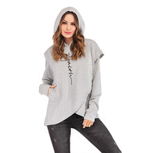 Pregnant Hoodie Sweatshirts Women Print Letter Thicken Tops Winter Clothes for Maternity Clothing Plus Size 5XL