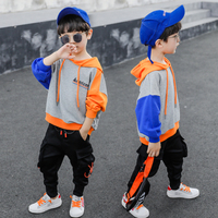Spring Autumn Letter Print Patchwork Hoodies +Cargo Pants Kids Boys Two Piece Suits casual Teenager Sport Tracksuits Child Cloth