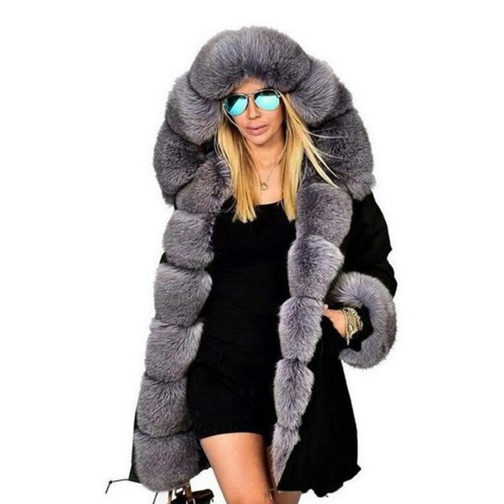 Женская зимняя куртка, пальто, модное женское пальто с капюшоном, искусственный мех, хлопок, флис, женские парки, худи, длинное пальто