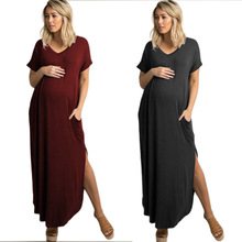 Women Dress Pregnancy Clothing Mama Clothes Solid Pregnant Dresses Loose Short Sleeve Open Fork Maternity Dress Maternity Wear стоимость