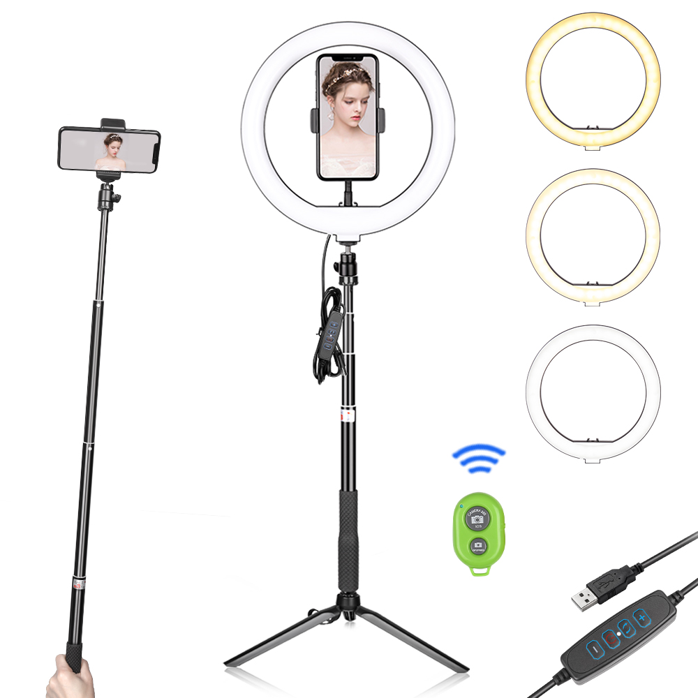 10inch/26cm LED Ring Light Photography With 2 in 1 Tripod Selfie LED Video Light For