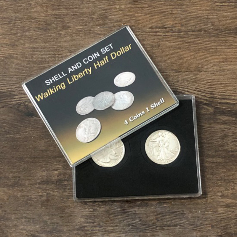 Walking Liberty Half Dollar Shell And Coin Set (4 Coins 1 Shell) Magic Tricks Close Up Illusion Gimmick Coin Appear/Vanish Magia