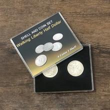 Walking Liberty Half Dollar Shell and Coin Set (4 Coins 1 Shell) Magic Tricks Close Up Illusion Gimmick Coin Appear/Vanish Magia