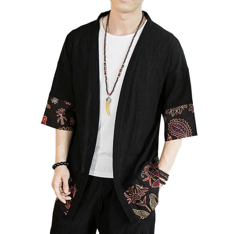 Gli Uomini del Kimono Yukata Kimono Maschile Cardigan Degli Uomini di Sesso Maschile Giacca Camicia Tradizionale Giapponese Mens Abbigliamento Cosplay Samurai Costume AA001