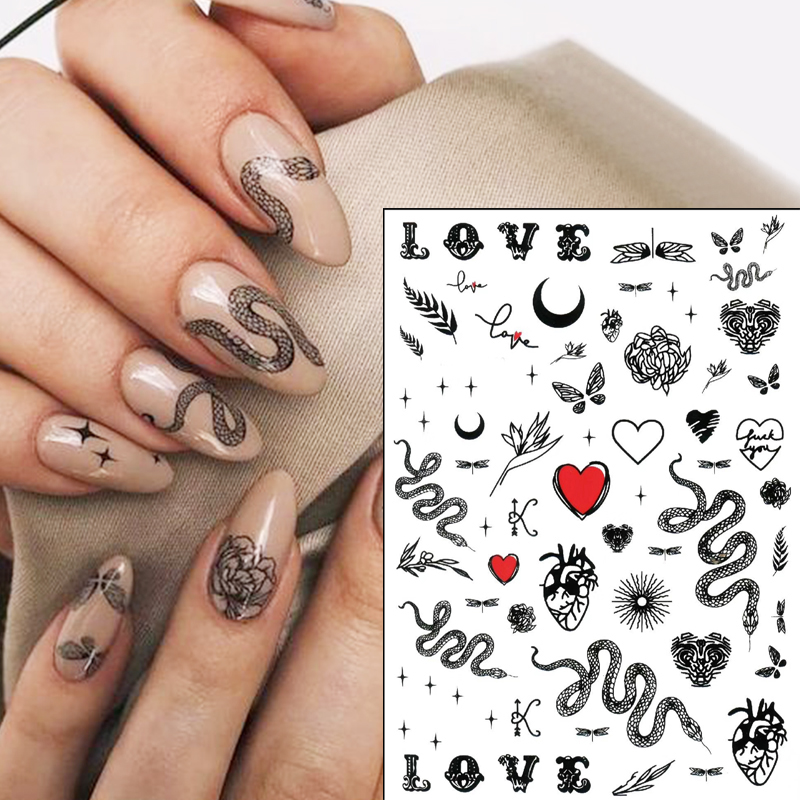 Snake Design 3D Nail Sticker Serpentine Self-adhensive Transfer Decals Decoration Nail Art Accessories DIY Butterfly Design