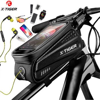 X-TIGER torba na rower rama przednia górna rura torba na rower odblaskowa 6 5in etui na telefon ekran dotykowy akcesoria do toreb wodoodporna torba na rower torba na rower tanie i dobre opinie CN (pochodzenie) PU leather+EVA Hard Shell odporne na deszcz X-CB-ES3 1 piece bag order