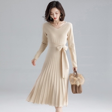 цена на Bow Tie Pleated Knitted Dress Winter Warm Maxi Long Sleeve V Neck Sashes Elasticity Wool Sweater Dress Beige Blue Black Grey New