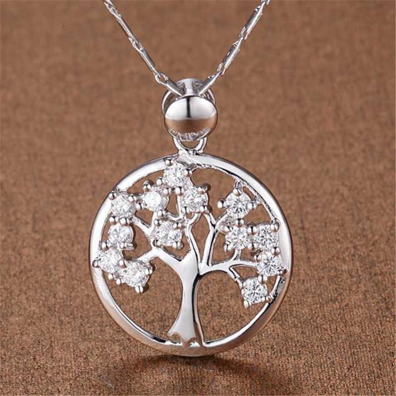 สีขาวทอง GP สร้อยคอ AAA Zirconia Life Tree รอบจี้และสร้อยคอสร้อยคอ Link Chain Collier เงิน 925 เครื่องประดับ