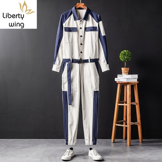 Fashion Mens One Piece Jumpsuit Sleeve Cargo Vintage Sashes Casual Hip Hop Overalls Colors Mixed Long Joggers Pants