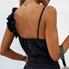 Women Summer Blouse Shirts Sexy V Neck Ruffle Blouses Backless Spaghetti Strap Office Ladies Sleeveless Casual Tops 6