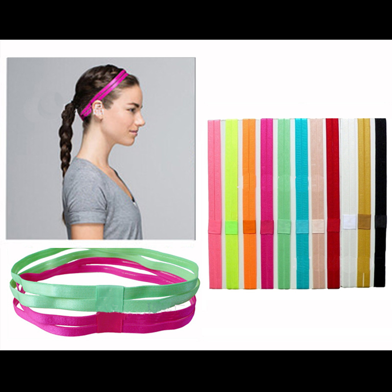 Yoga Pure Hair Bands Women Men Elastic Double Rubber Anti-slip Sports HeadBands Thin Sweatband Women Yoga Accessories Headwrap