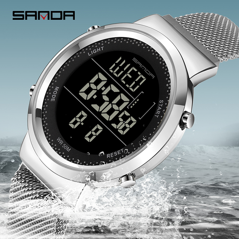 SANDA Charming Multifunctional Digital Watch Steel Mesh Strap Magnet Clasp Electronic Clock Outdoors Business Couple Watch 383
