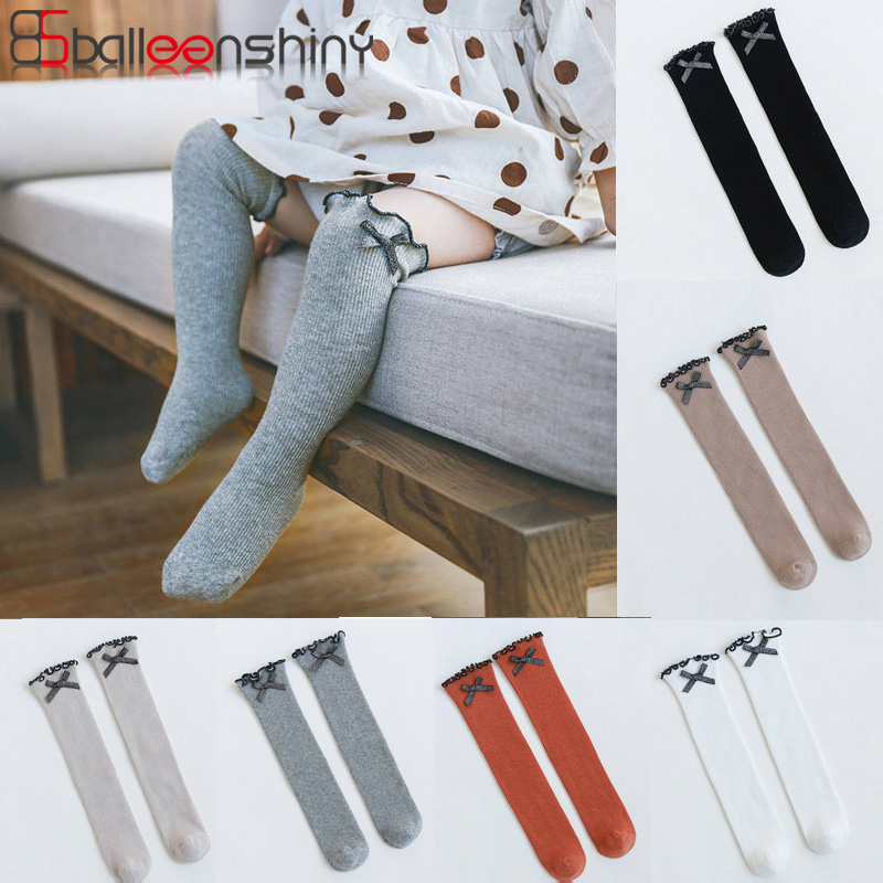 Balleenshiny Children Baby Socks Knitted Cotton Long Tube Socks Kids Knee High Socks Girls Bowknot Autumn Warm Socks For 1-3Y