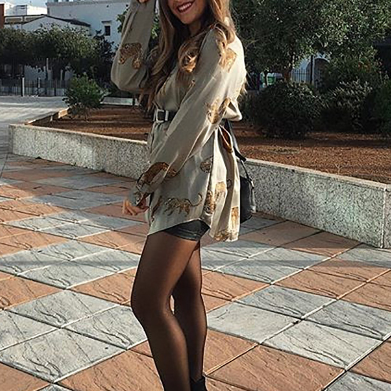 2020 Spring Summer New Sexy Blouse Casual Women Animal Print Long Sleeved Loose High Quality Chiffon Shirt Boutique Ladies Tops