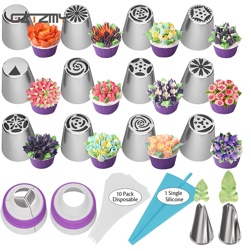 Cake Decorating Tools 27 Pcs Set Russian Tulip Icing Piping Nozzles Leaf Pastry Tips Pastry Bags For Kitchen Baking Confeitaria