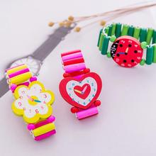 Kids Wooden Handicrafts Toys For Children Learning & Education Cartoon Elastic Watches Party Favors Kids Wristband Toy Gift