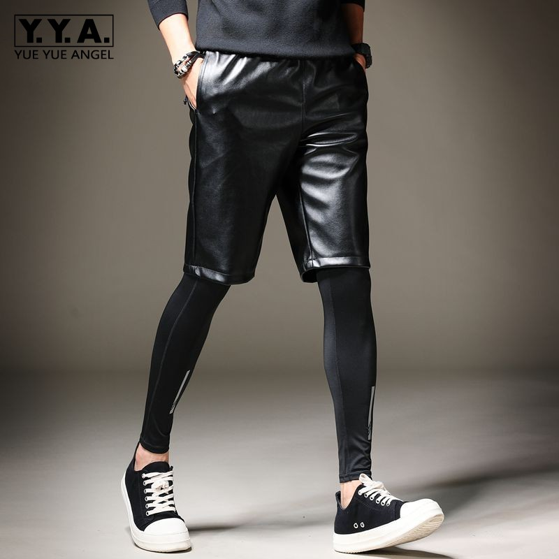 Summer New Mens Knee Length Pu Leather Shorts Elastic Waist Hip Hop Harem Pants Korean Casual Streetwear Biker Leather Shorts