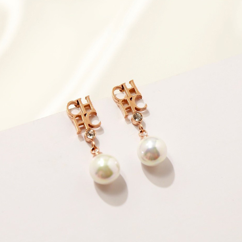fashion rose gold letter chhc pearl drop earring for womenDrop Earrings   -