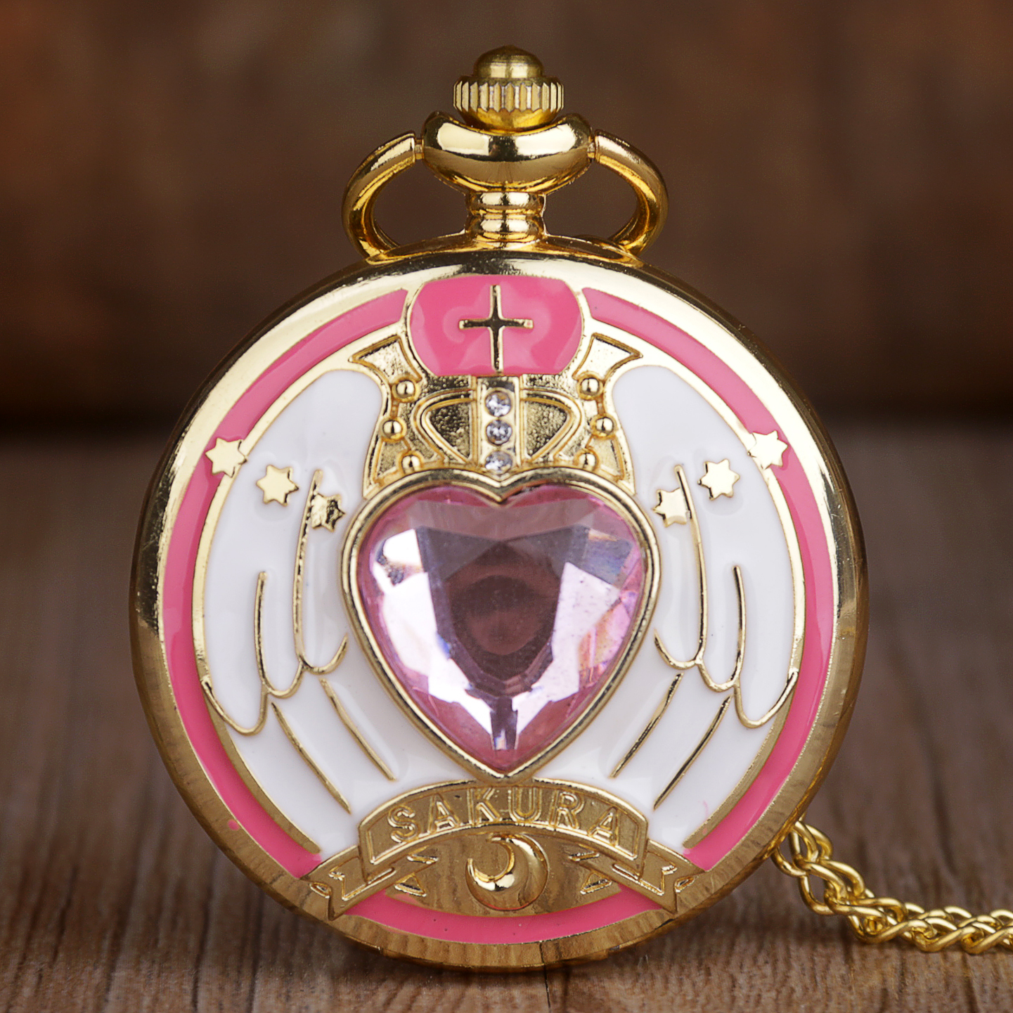 Pink Pocket Watches For Girls Cute Cartoon Design Fashion Quartz Fob Watch Ladies Best Gifts With Chain