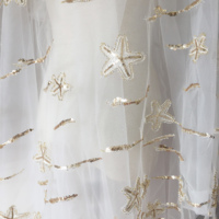 1 Yard Gorgeous light gold star fish sequin embroidery lace fabric for prom dress haute couture fabric by yard